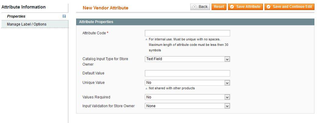 Manage vendor atribute