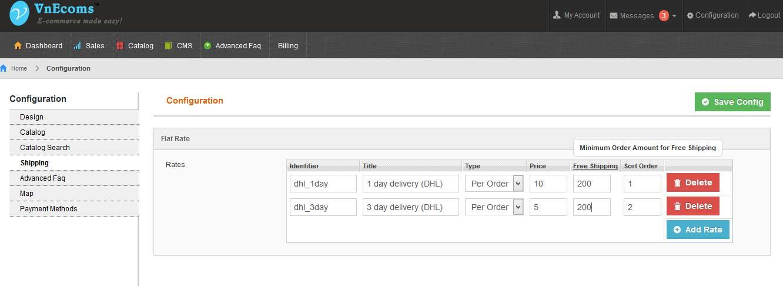 Configuration - Vendor Multiple Flatrate Shipping
