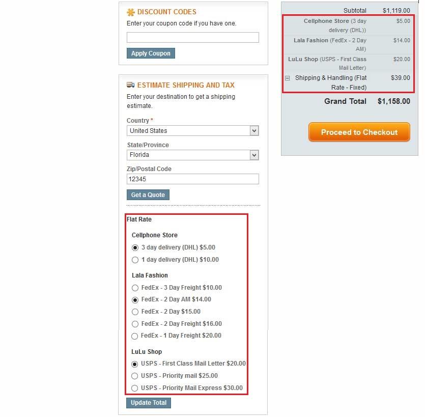 Shopping Cart - Vendor Multiple Flatrate Shipping