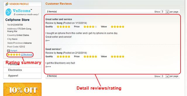 Vendor review/rating