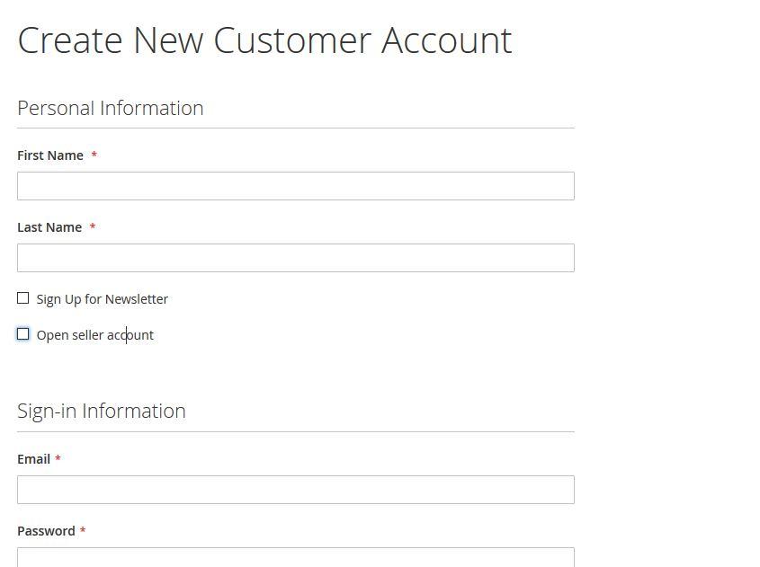 Seller Register New Account