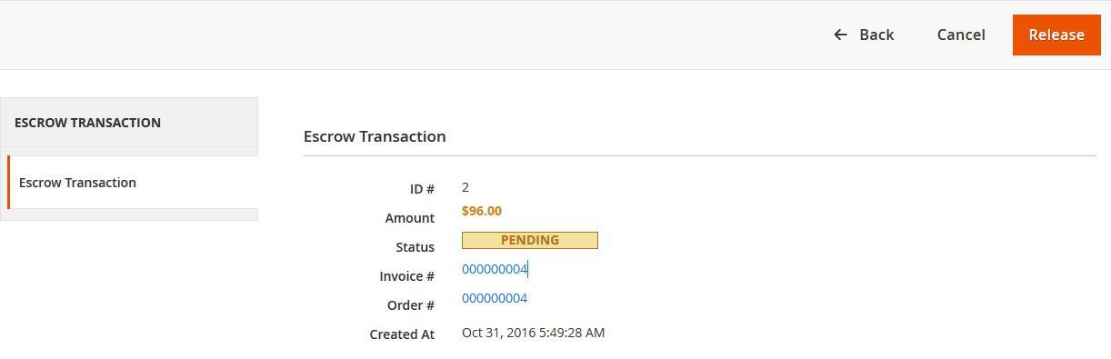 View Escrow Transactions